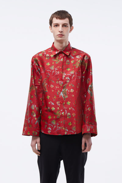 Martine Rose - Classic Shirt W/ Lantern Sleeve Red Bird