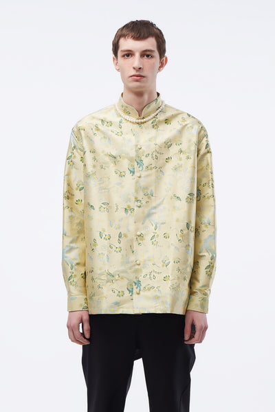 Martine Rose - Jacquard Shirt W/ Mandarin Collar Gold Bird