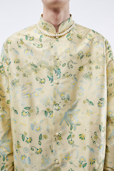 Jacquard Shirt W/ Mandarin Collar Gold Bird