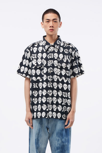 Vyner Articles - Cargo Shirt With Salmiakki Print BK/WH