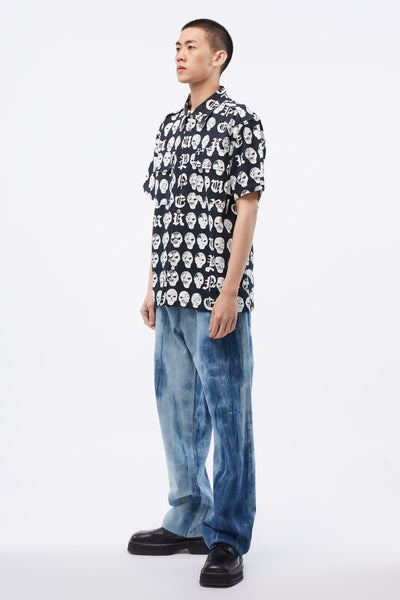 Cargo Shirt With Salmiakki Print BK/WH