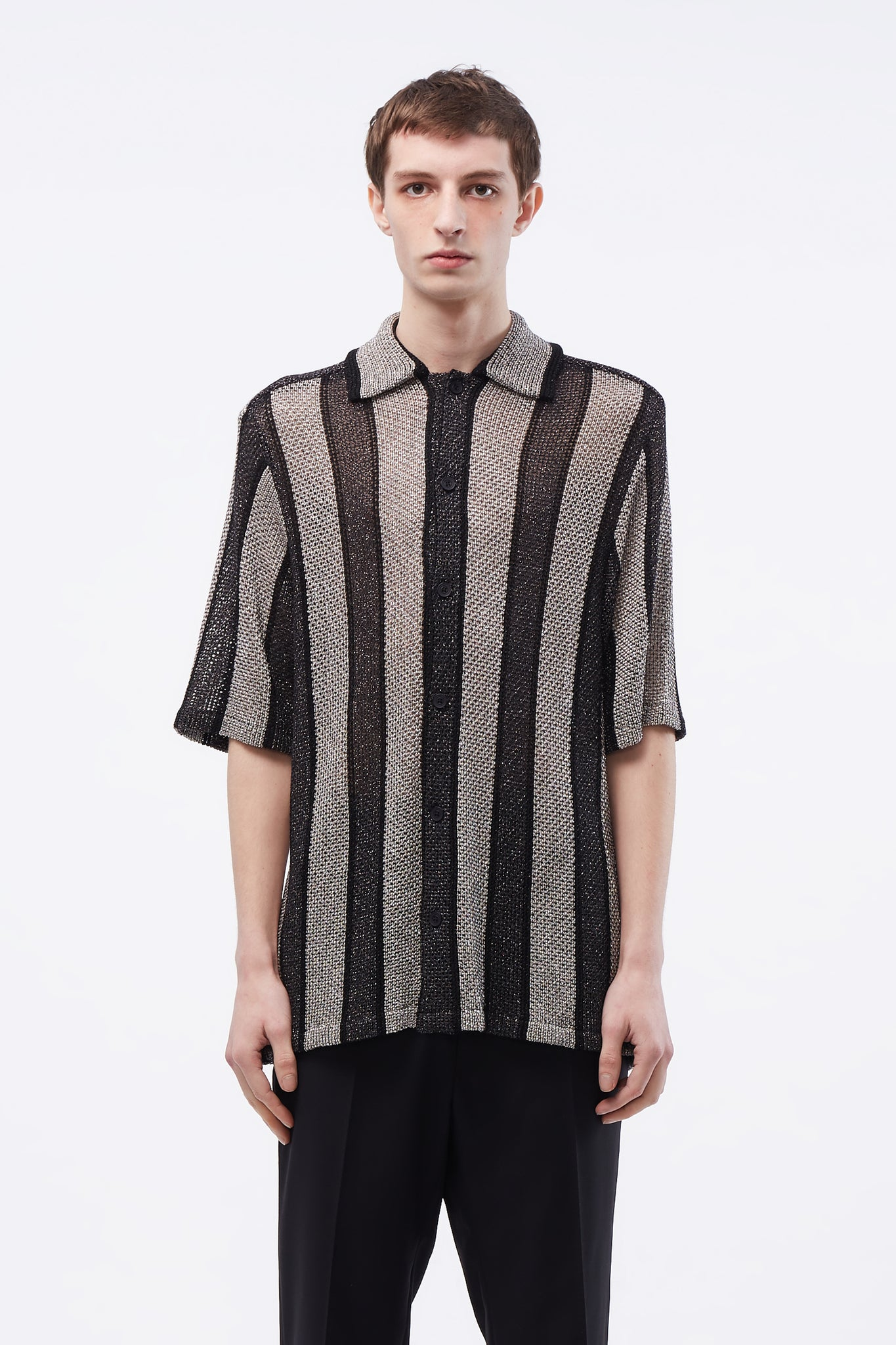 Wes Knitted SS Shirt Shiny Lurex Black/silver