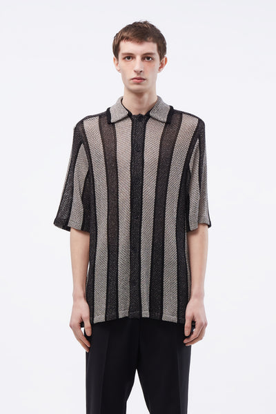 CMMN SWDN - Wes Knitted SS Shirt Shiny Lurex Black/silver