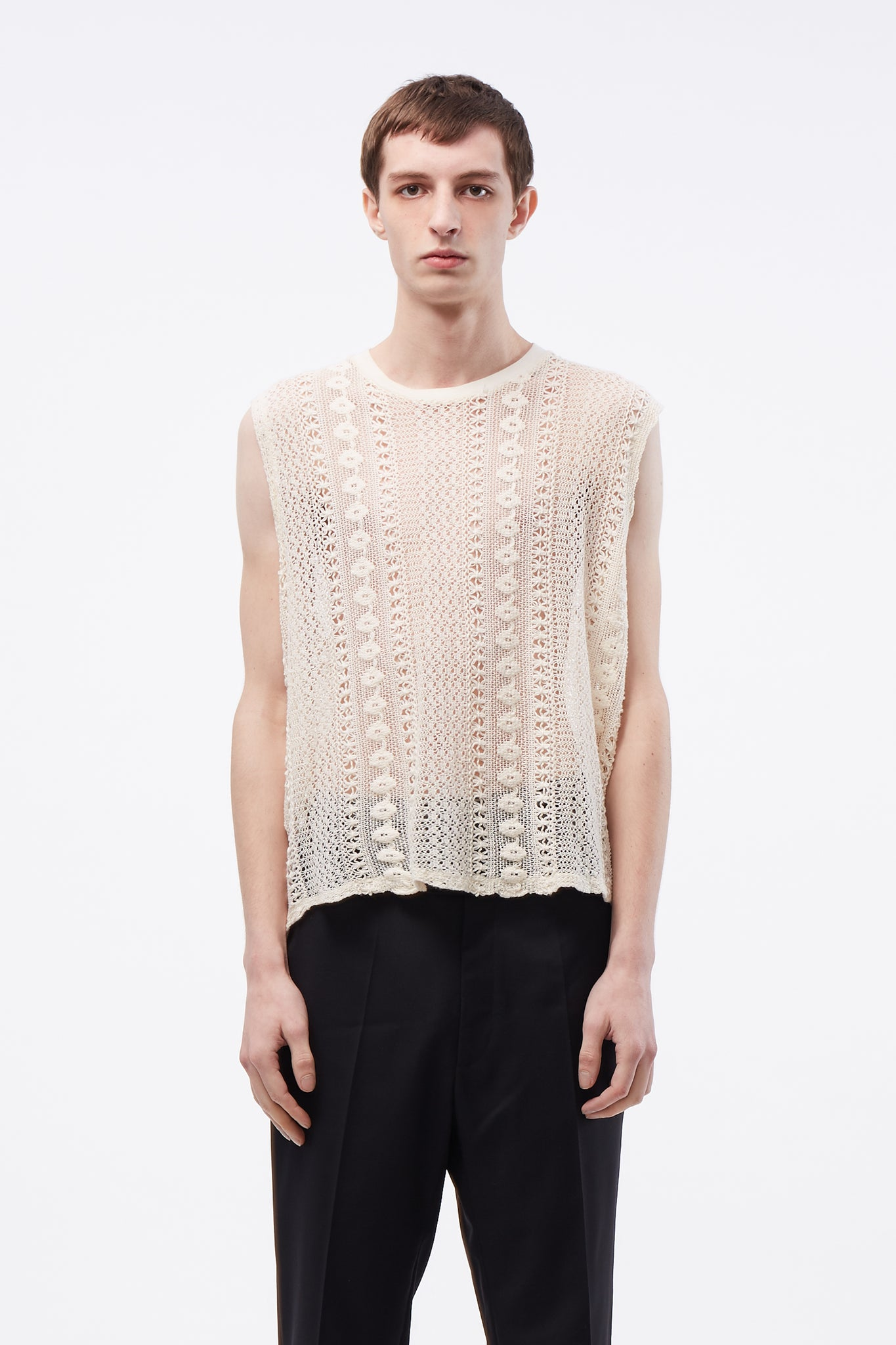 Box Sleeveless Off White Crochet