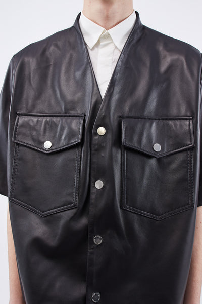 Point Short Sleeve Leather Cardigan Dry Onyx