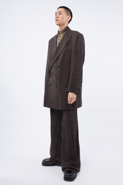 Wide Tailored Trousers Brown Speckle