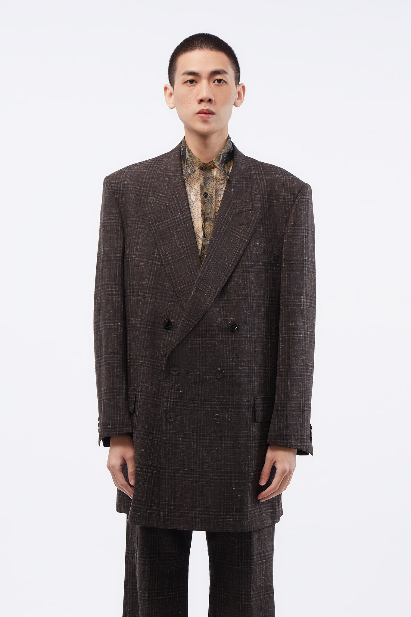 Double Breasted Oversized Tailored Blazer Brown Speckle