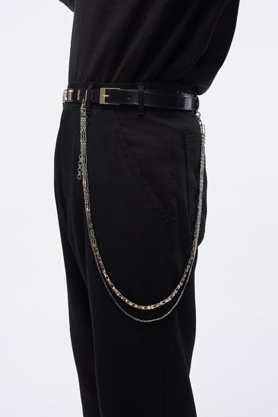 Leather Belt W/ Mr 2 Chains Black