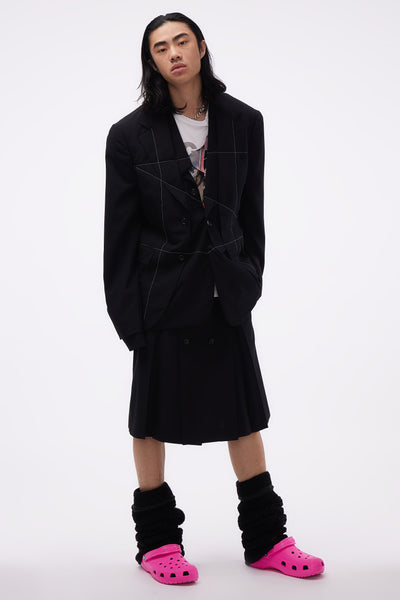 Contrast Stitch Asymmetric Layered Blazer Black