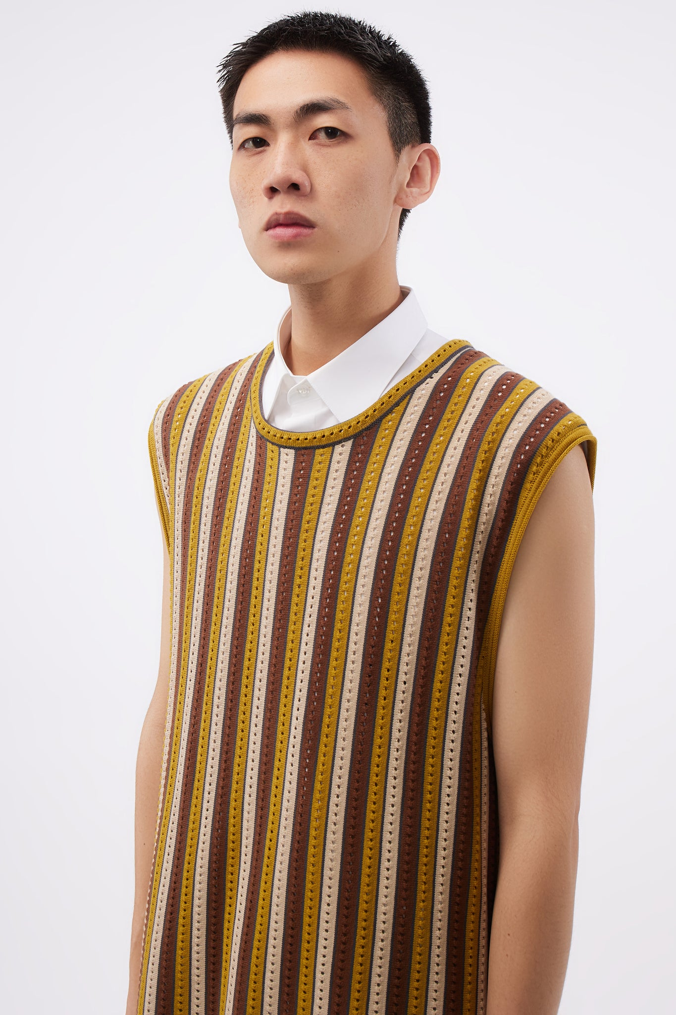 Elongated Knitted Vest Brown Stripe