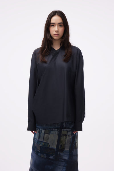 Lemaire - Wrap over Shirt Midnight turquoise