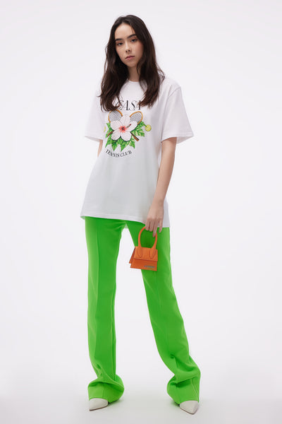 Straight Leg Trousers Neon Green