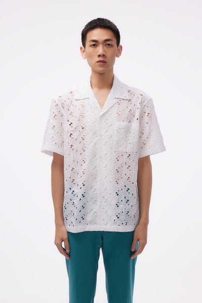 CMMN SWDN - Ss Camp Collar Shirt Broderie Anglais White