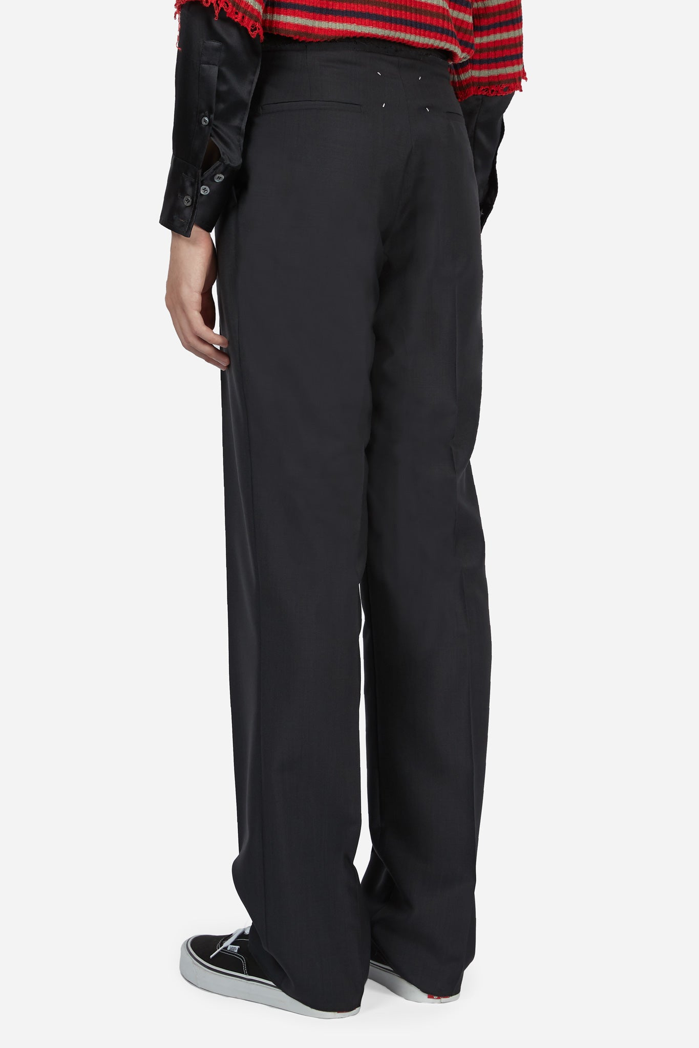 Black Belt Elastic Straight Trouser