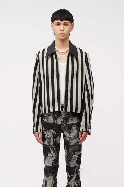 Act Of Desire - Manchester Cropped Jacket Cool Grey Wide Stripe