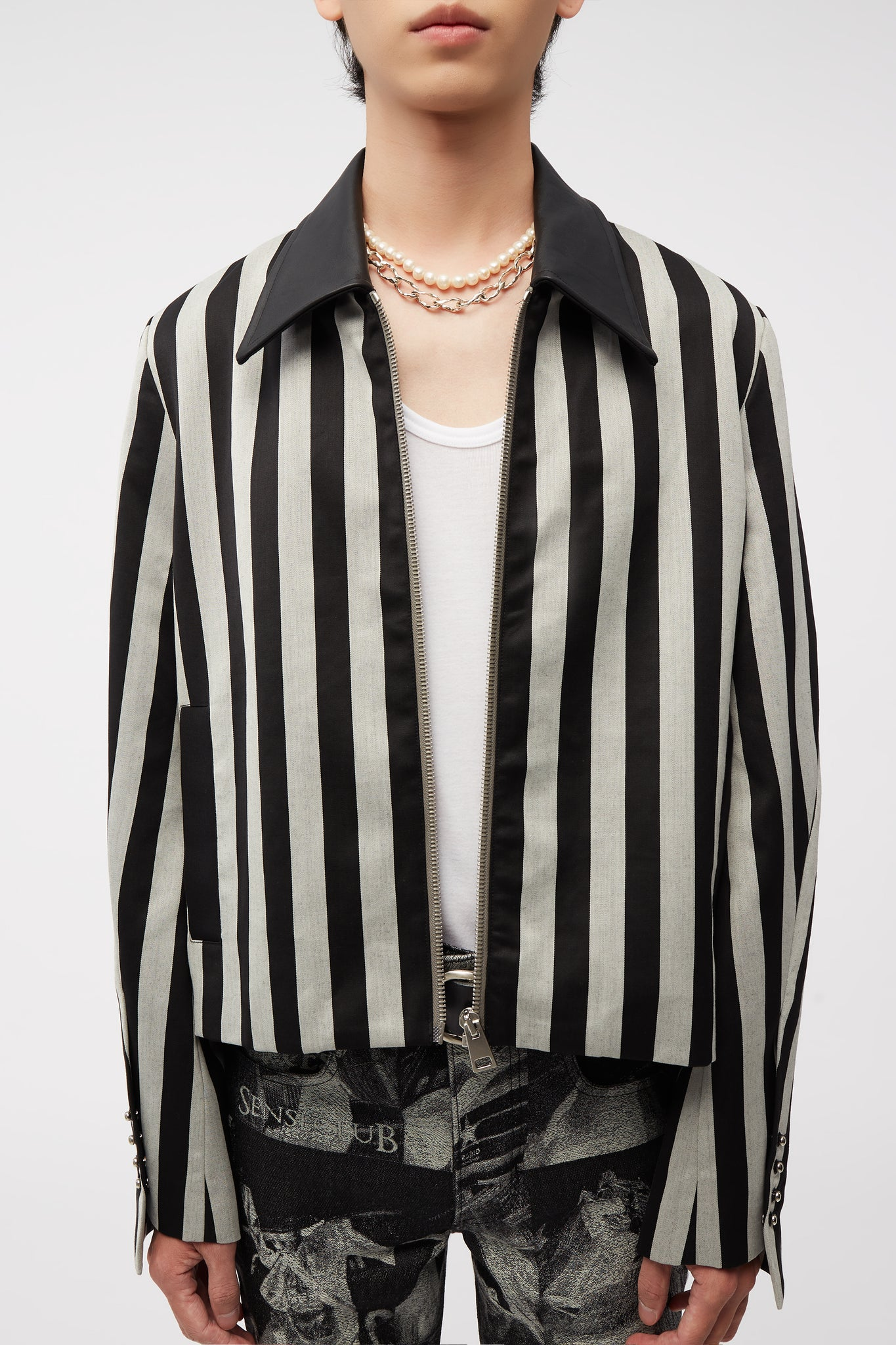 Manchester Cropped Jacket Cool Grey Wide Stripe