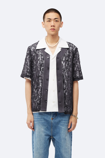 Act Of Desire - Stanley Panelled Baseball Shirt Concrete Grey Lace