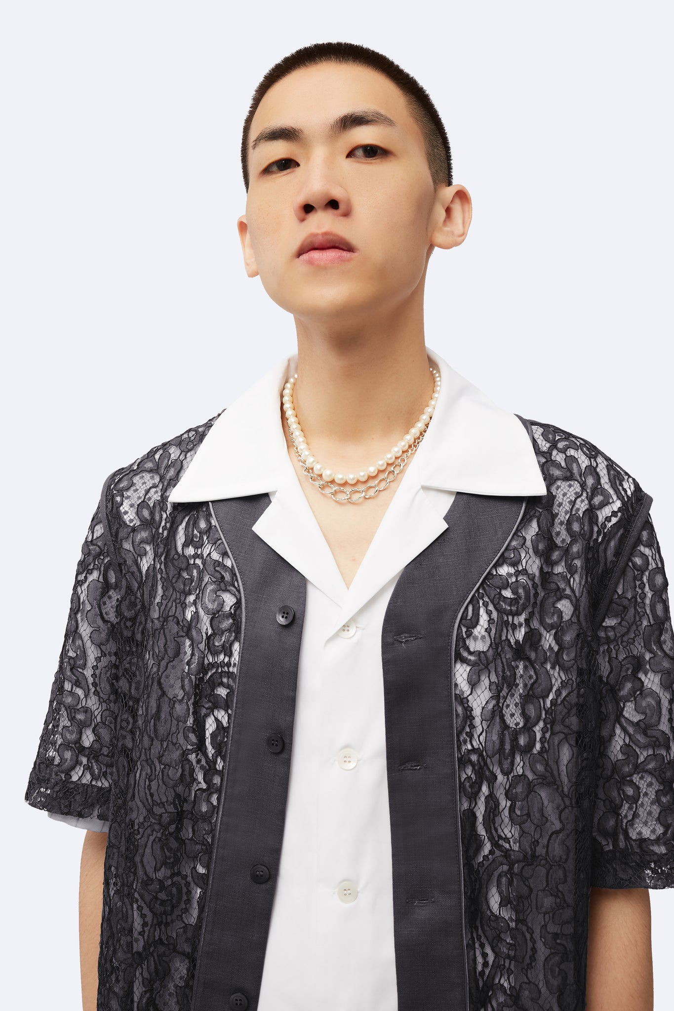 Stanley Panelled Baseball Shirt Concrete Grey Lace