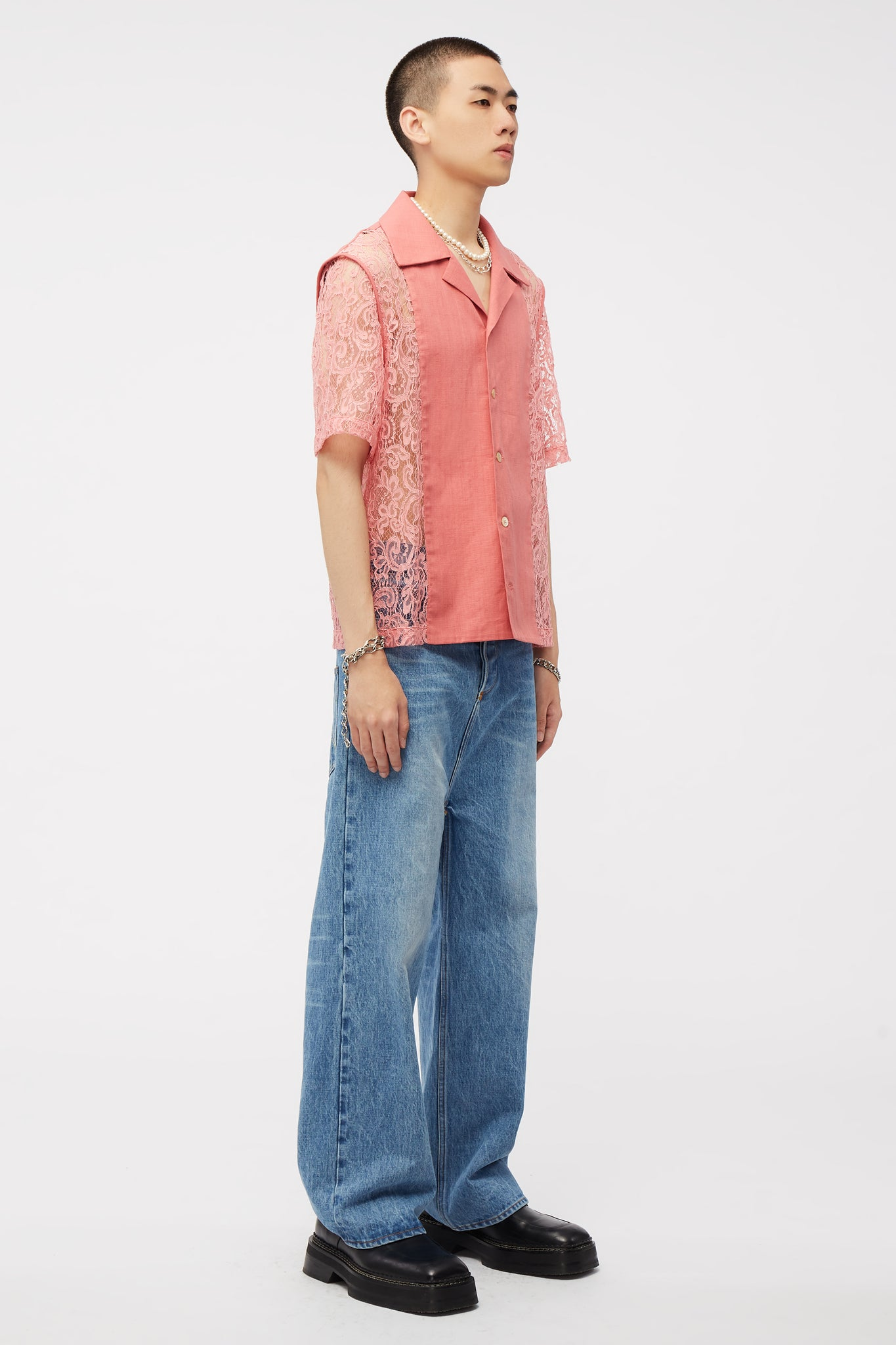 Narc Panlled Shirt Mellow Rose Lace