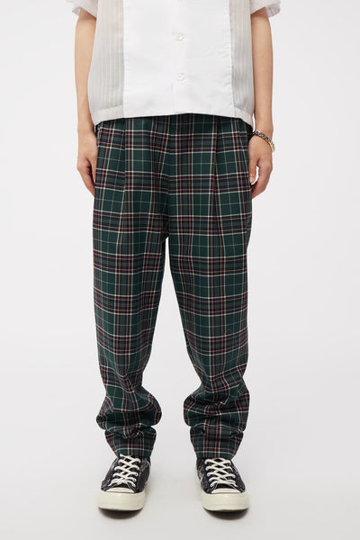 Act Of Desire - Dan Wide Leg Carrot Trouser Croc Green Uniform Check