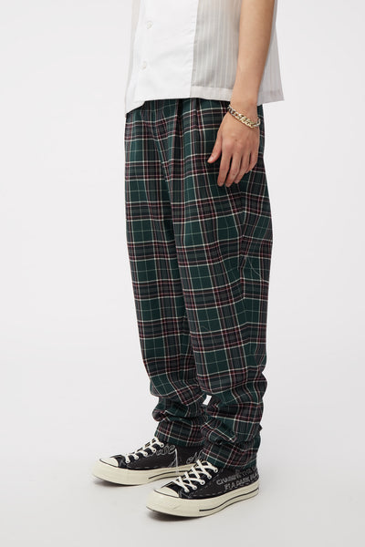 Dan Wide Leg Carrot Trouser Croc Green Uniform Check