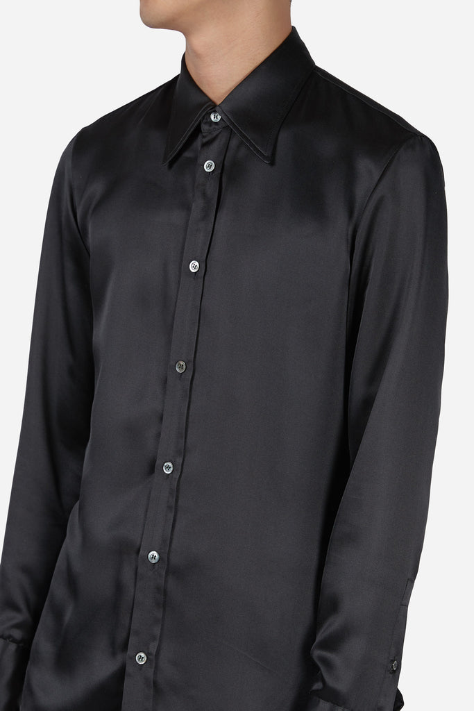 Black Silk Satin LS Shirt