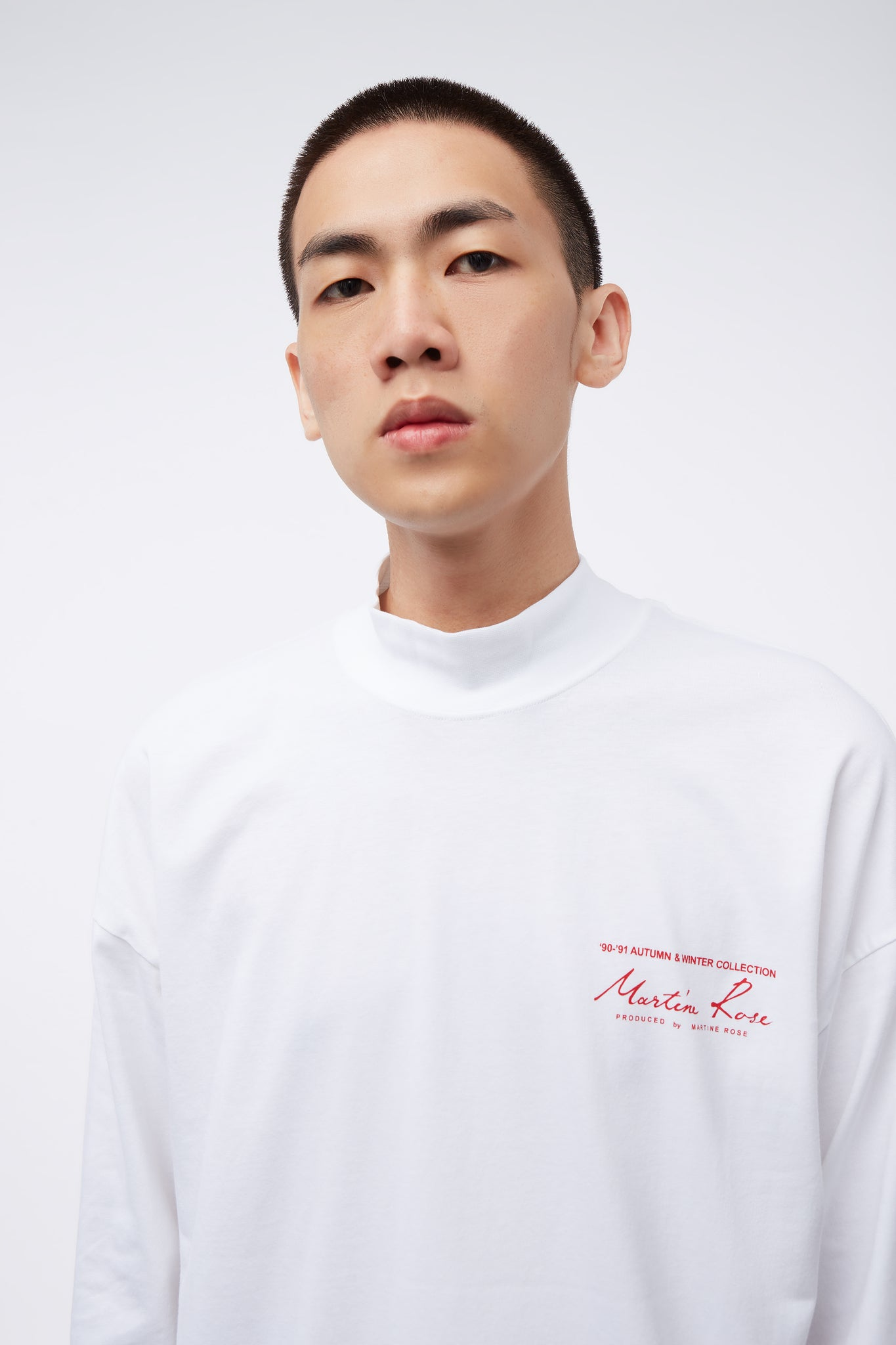 Jersey Funnel Neck White Knit