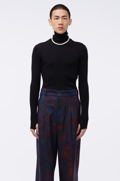 Ernest W. Baker - Ribbed Turtle Neck Black
