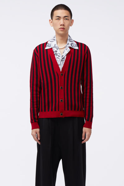 Ernest W. Baker - Striped Cardigan Red/black