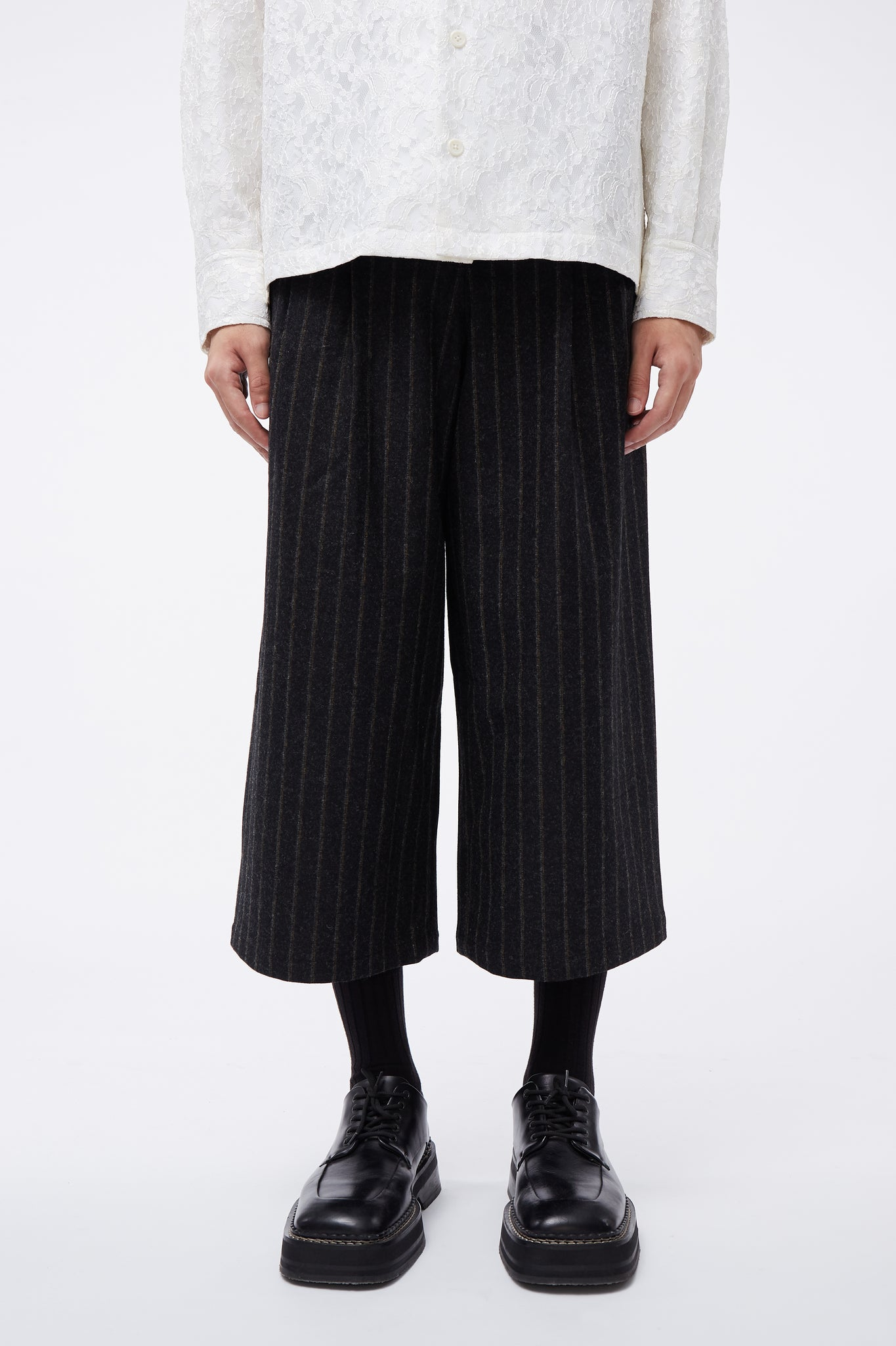 Sail Pleated Cropped Trouser Kash Gold Stripe
