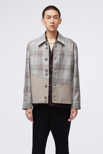 Needle In The Sea - Seth Slanted Panel Contrast Bomber Jacket Sliver Soil Plaids+Silver Lining