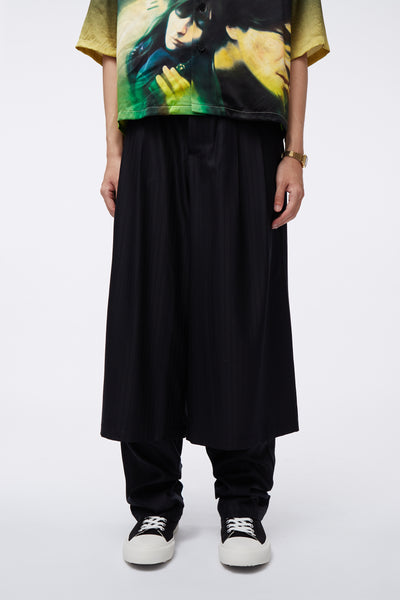 Needle In The Sea - Geoff Double Layer Trouser Dry Onyx Muted Stripe