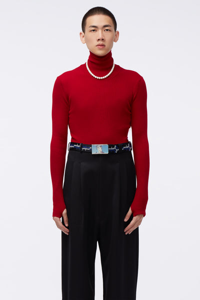 Ernest W. Baker - Ribbed Turtle Neck Red