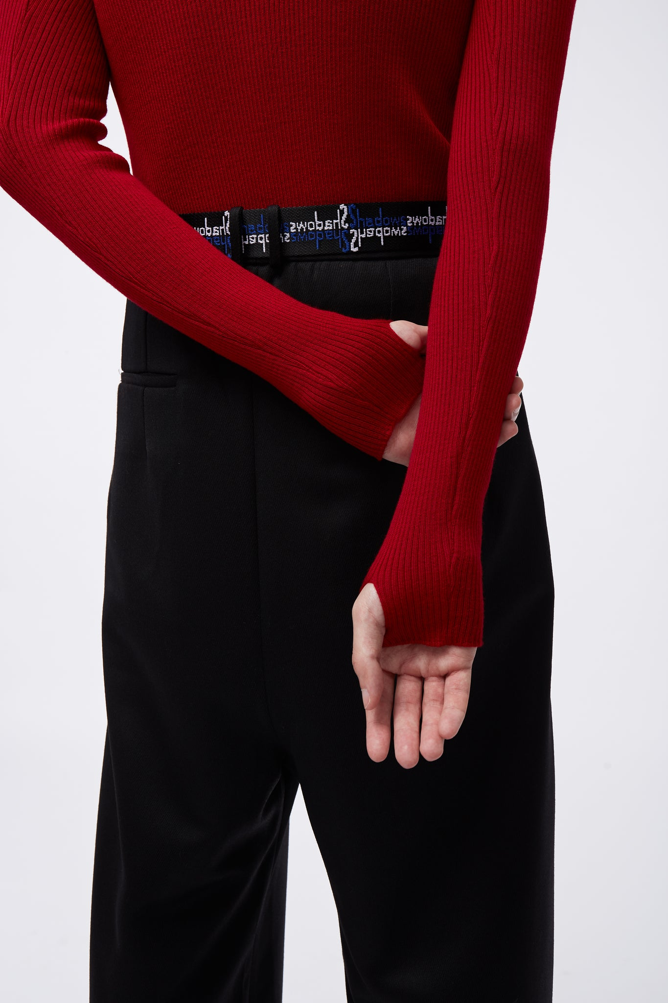 Ribbed Turtle Neck Red