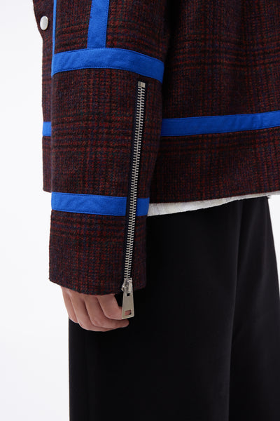 Moses Shearling Biker Jacket Ferla Red Plaids