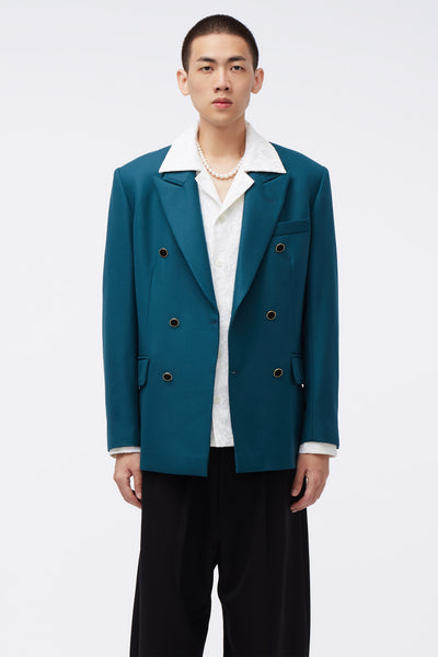 Ernest W. Baker - Double Breasted Blazer Green