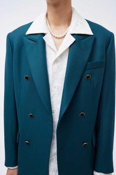 Double Breasted Blazer Green
