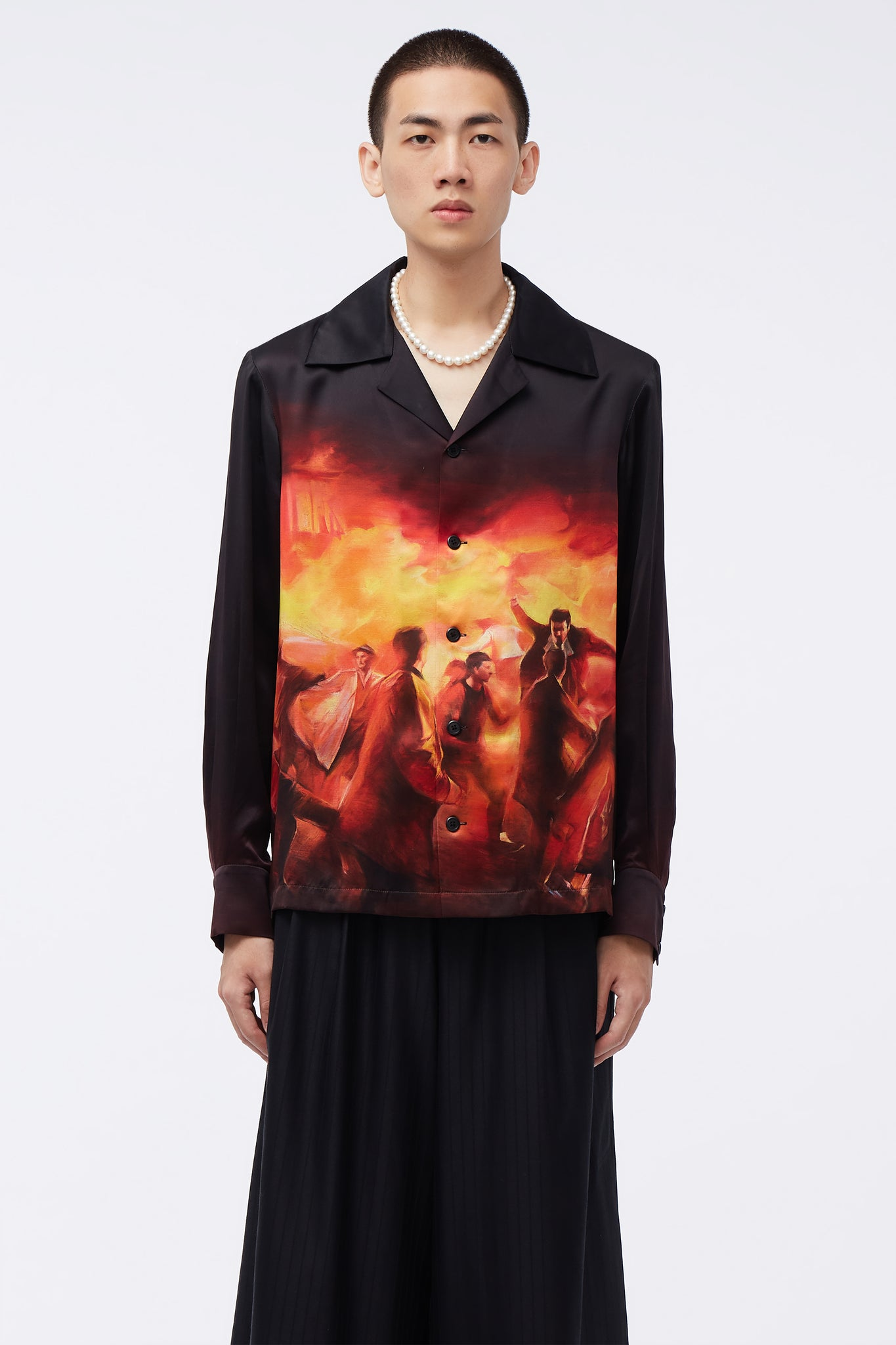 Vice Cuban Collar LS Shirt Untamed Creatures Painting