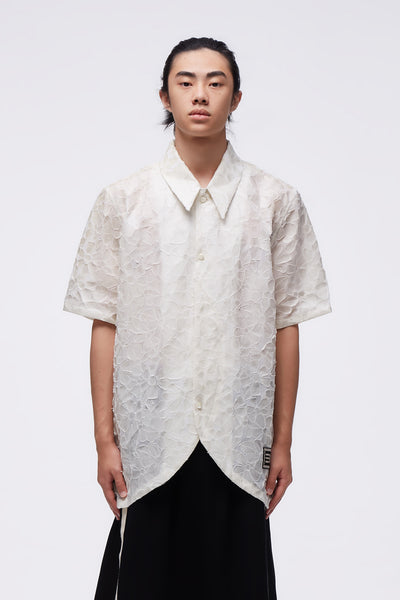NAMESAKE - Velva Oversized Curve Shirt Salt White Patched Floral