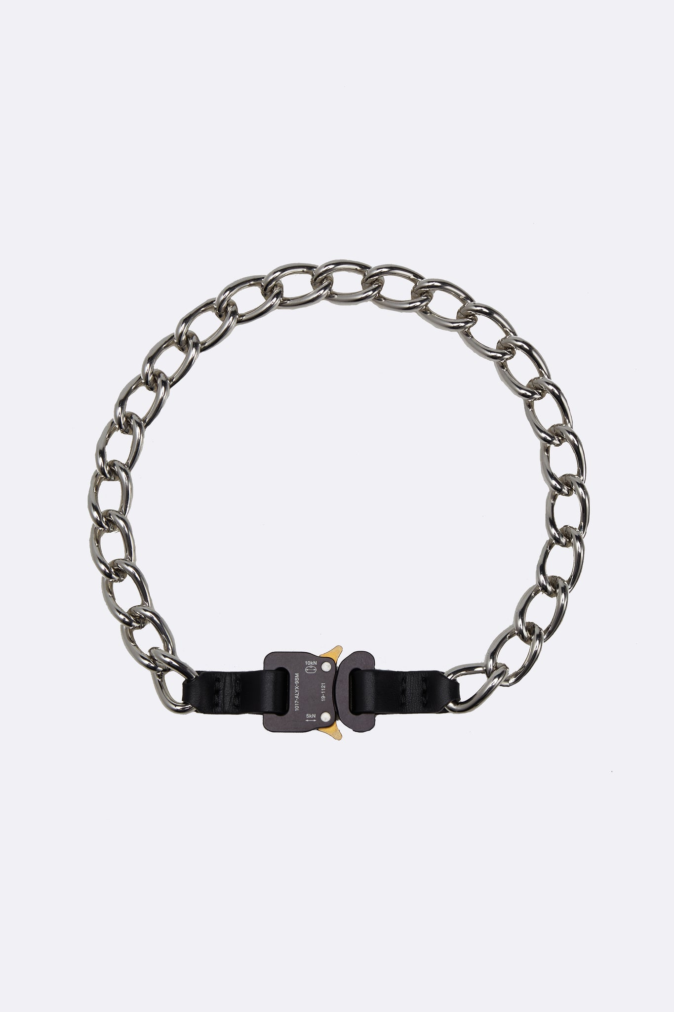 Chain Necklace W/ Leather Details Black