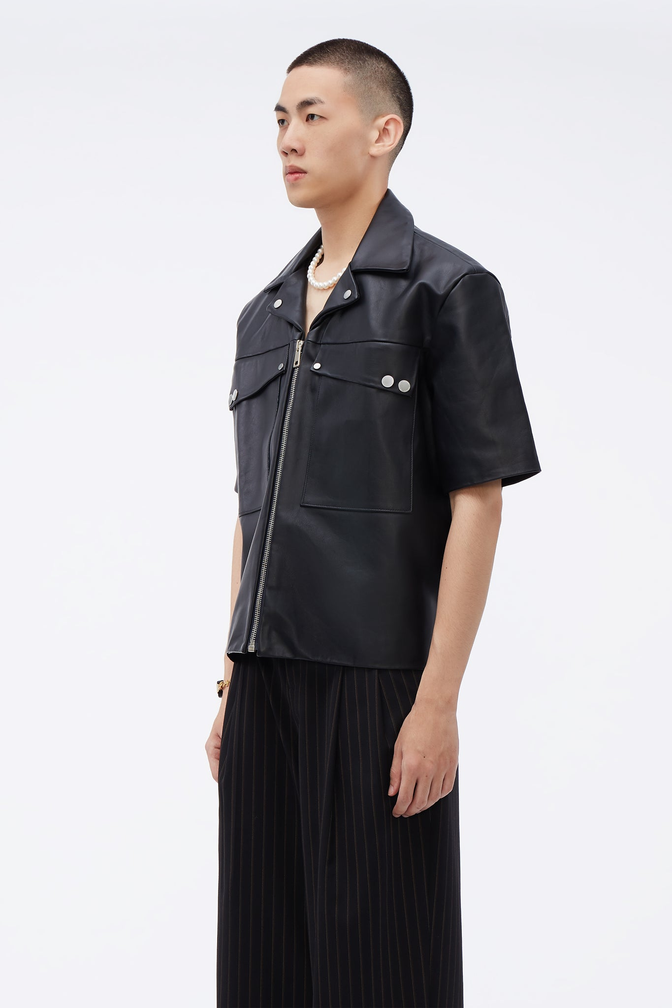 Sahara Slanted Pocket Oversized SS Jacket Black leather
