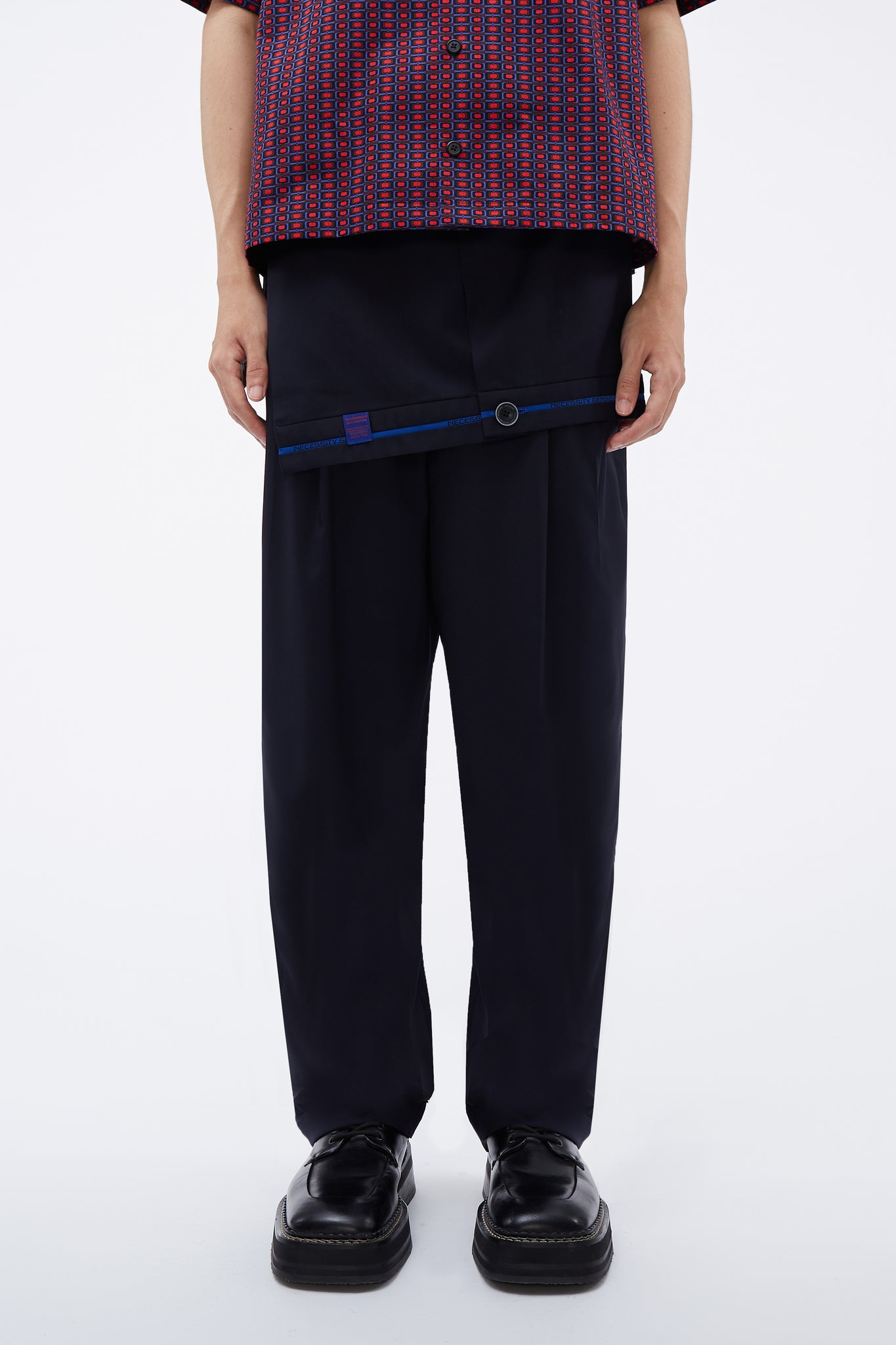 Dobby Suit Layered Pleats Trouser Midnight Navy