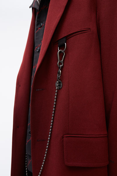 '19.2'' Print Single Breasted Coat Burgundy