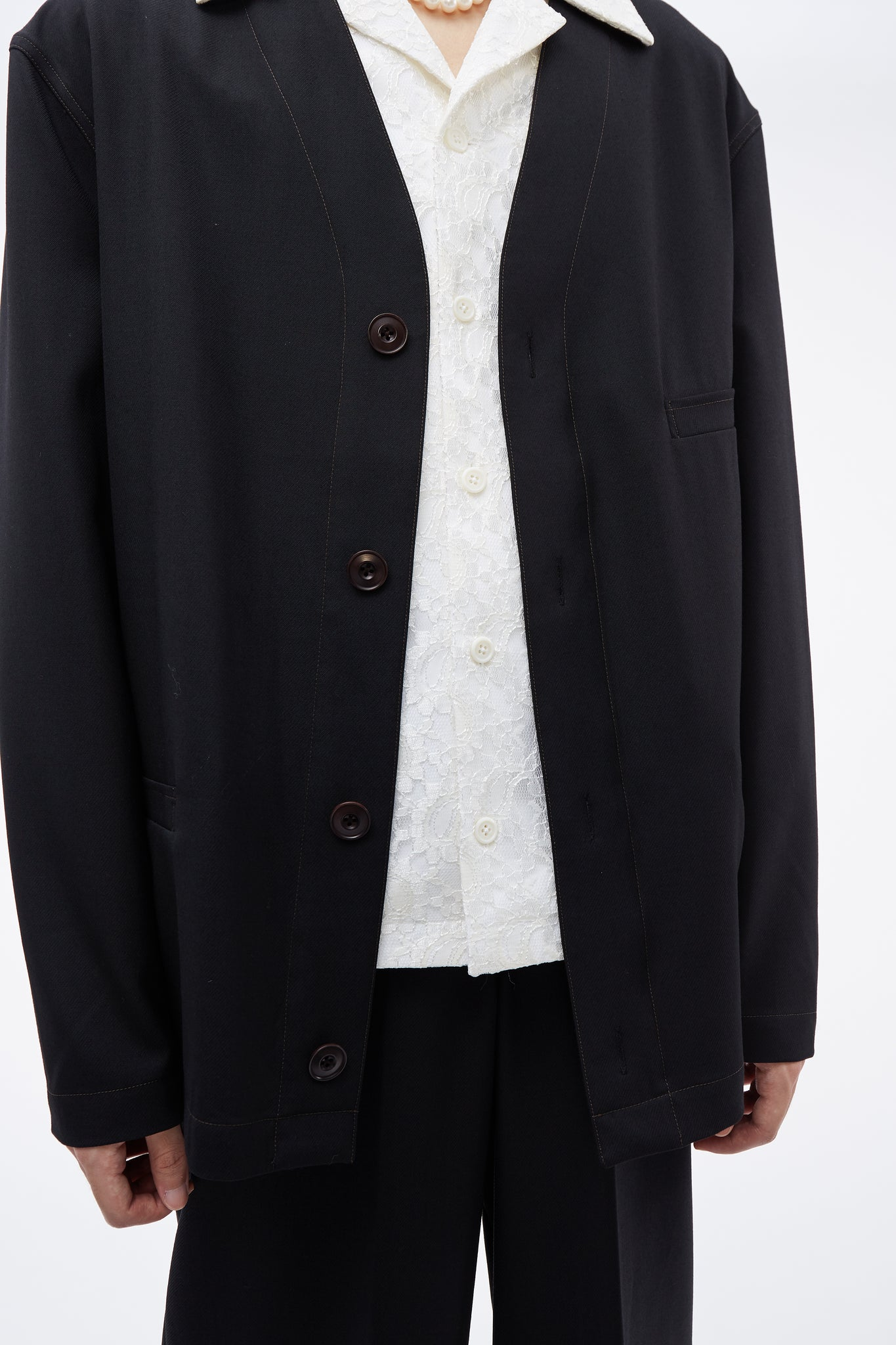 V-neck Jacket Black