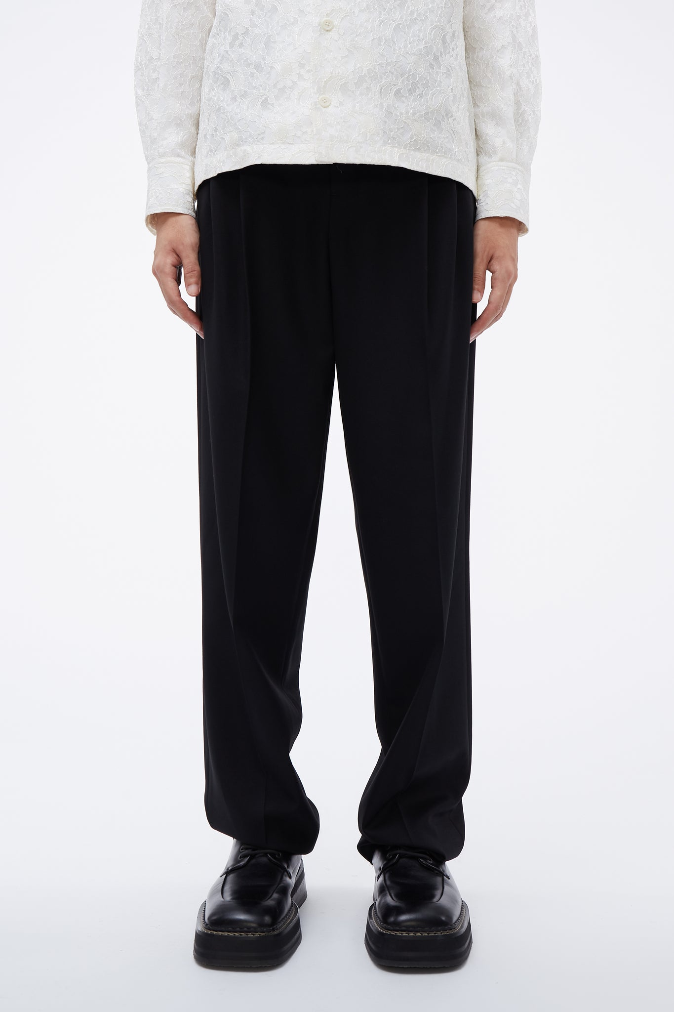 Unisex Pleated Pants Black