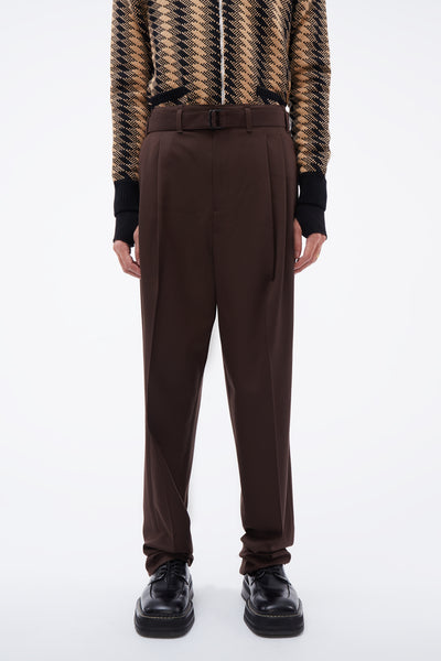 Lemaire - Unisex Pleated Pants Seal Brown