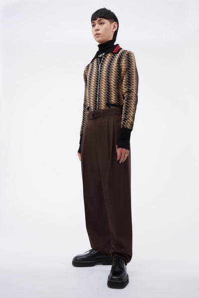 Unisex Pleated Pants Seal Brown