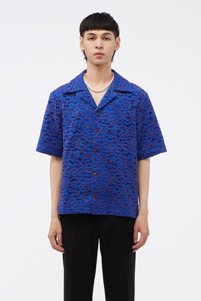 Conscious Creatures - Bali Cuban Collar SS Shirt Magnetic Blue Lace