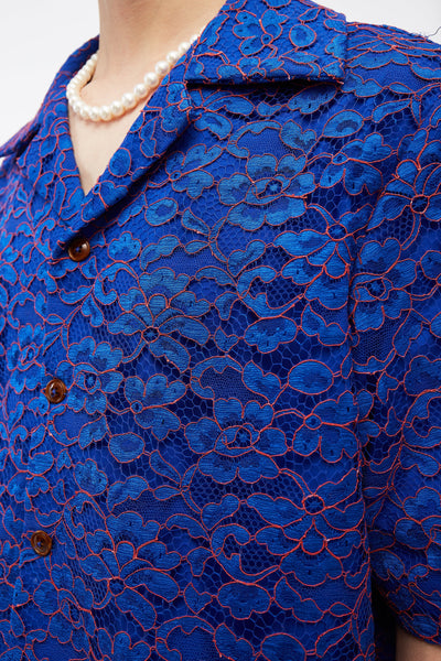 Bali Cuban Collar SS Shirt Magnetic Blue Lace