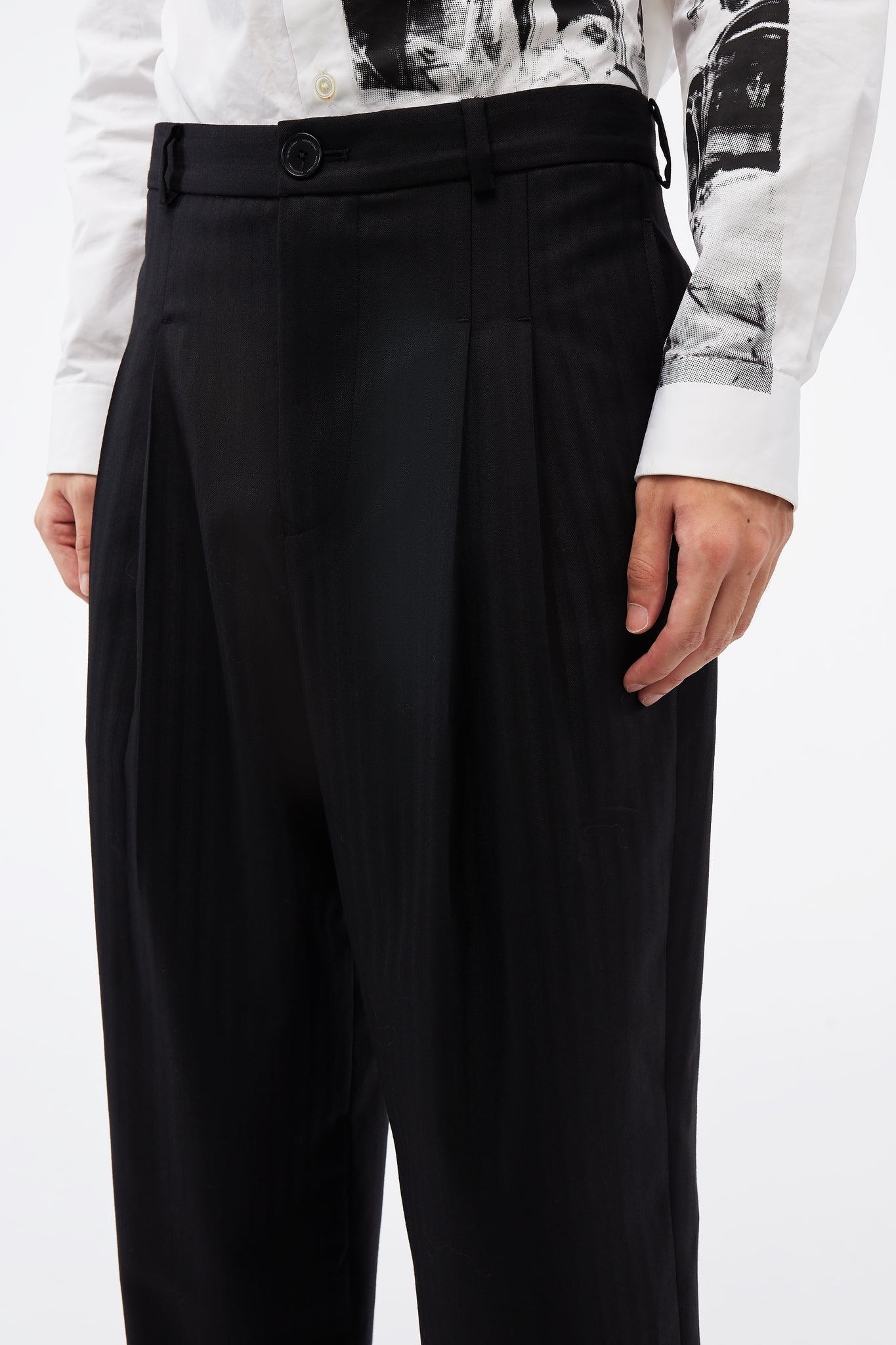 Mich Pleats Straight Splittable Trouser Dry Onyx Muted Stripe